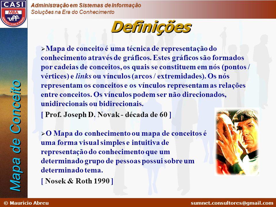 sumnet@microlink.com.br © Mauricio Abreusumnet.consultores@gmail.com Administração em Sistemas de Informação Soluções na Era do Conhecimento Definiçõe