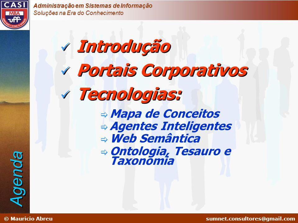 sumnet@microlink.com.br © Mauricio Abreusumnet.consultores@gmail.com Administração em Sistemas de Informação Soluções na Era do Conhecimento Mapa de Conceito