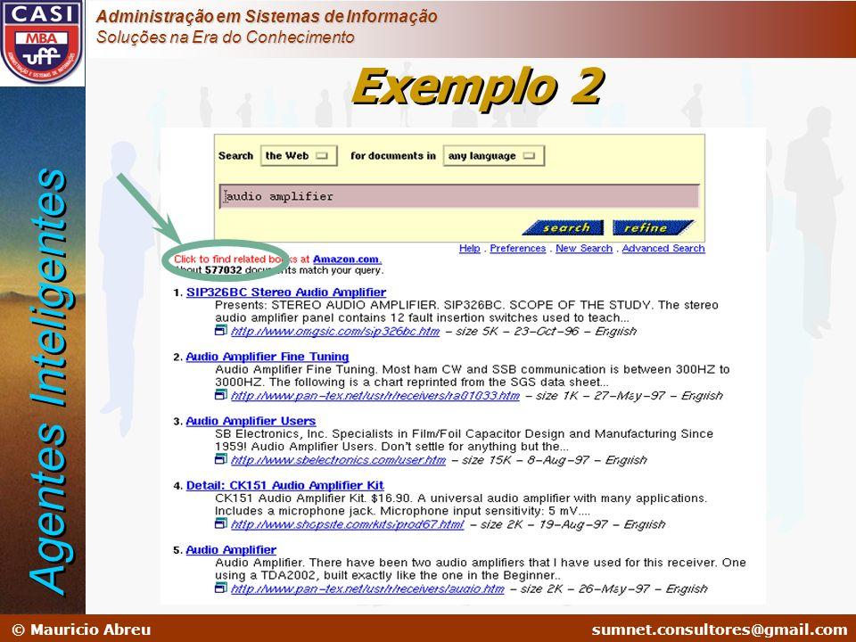 sumnet@microlink.com.br © Mauricio Abreusumnet.consultores@gmail.com Administração em Sistemas de Informação Soluções na Era do Conhecimento Exemplo 2