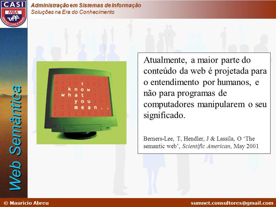 sumnet@microlink.com.br © Mauricio Abreusumnet.consultores@gmail.com Administração em Sistemas de Informação Soluções na Era do Conhecimento Atualment