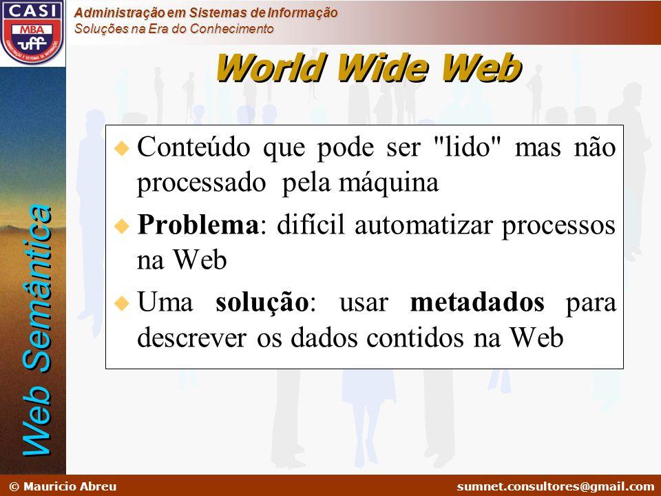 sumnet@microlink.com.br © Mauricio Abreusumnet.consultores@gmail.com Administração em Sistemas de Informação Soluções na Era do Conhecimento u Conteúd