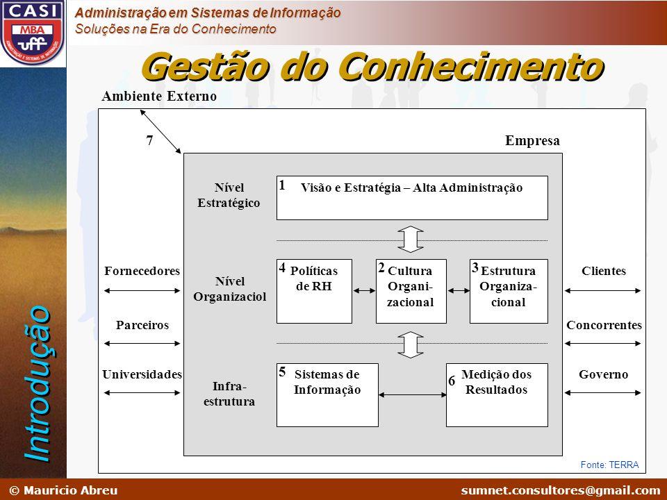 sumnet@microlink.com.br © Mauricio Abreusumnet.consultores@gmail.com Administração em Sistemas de Informação Soluções na Era do Conhecimento Visão e E