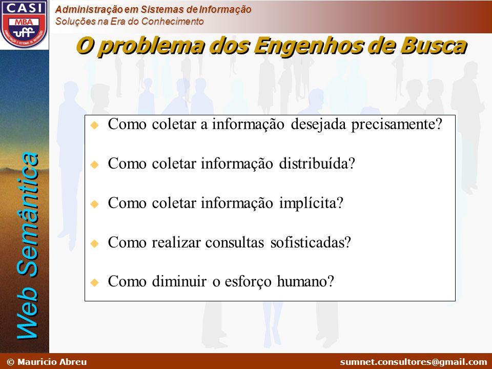 sumnet@microlink.com.br © Mauricio Abreusumnet.consultores@gmail.com Administração em Sistemas de Informação Soluções na Era do Conhecimento u Como co