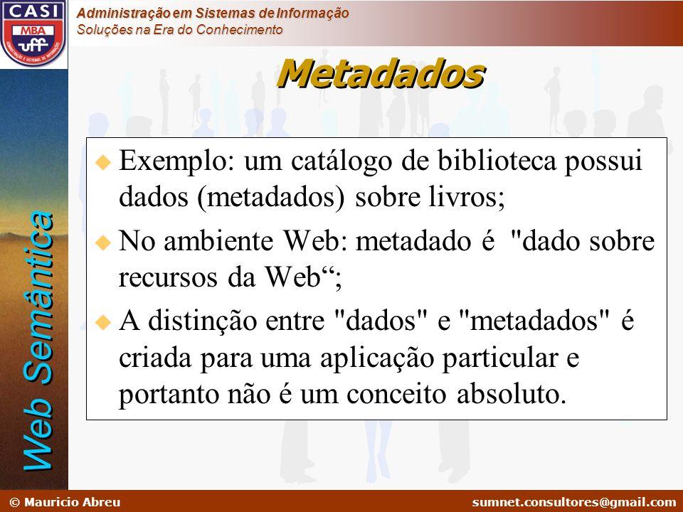 sumnet@microlink.com.br © Mauricio Abreusumnet.consultores@gmail.com Administração em Sistemas de Informação Soluções na Era do Conhecimento u Exemplo