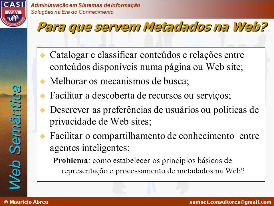 sumnet@microlink.com.br © Mauricio Abreusumnet.consultores@gmail.com Administração em Sistemas de Informação Soluções na Era do Conhecimento u Catalog