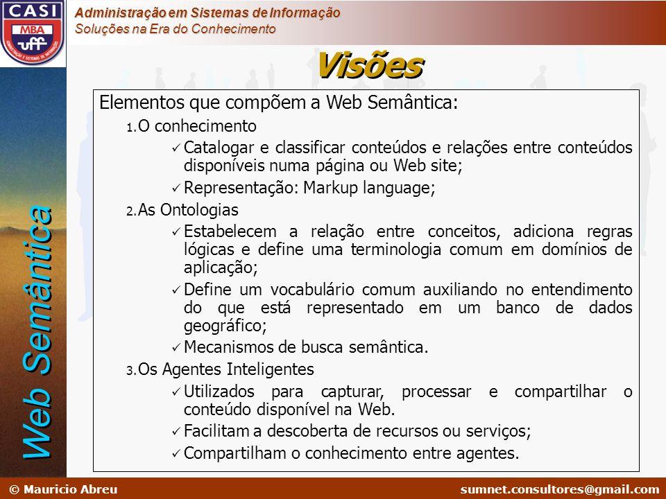 sumnet@microlink.com.br © Mauricio Abreusumnet.consultores@gmail.com Administração em Sistemas de Informação Soluções na Era do Conhecimento Elementos