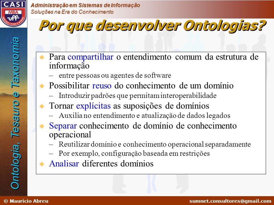 sumnet@microlink.com.br © Mauricio Abreusumnet.consultores@gmail.com Administração em Sistemas de Informação Soluções na Era do Conhecimento u Para co