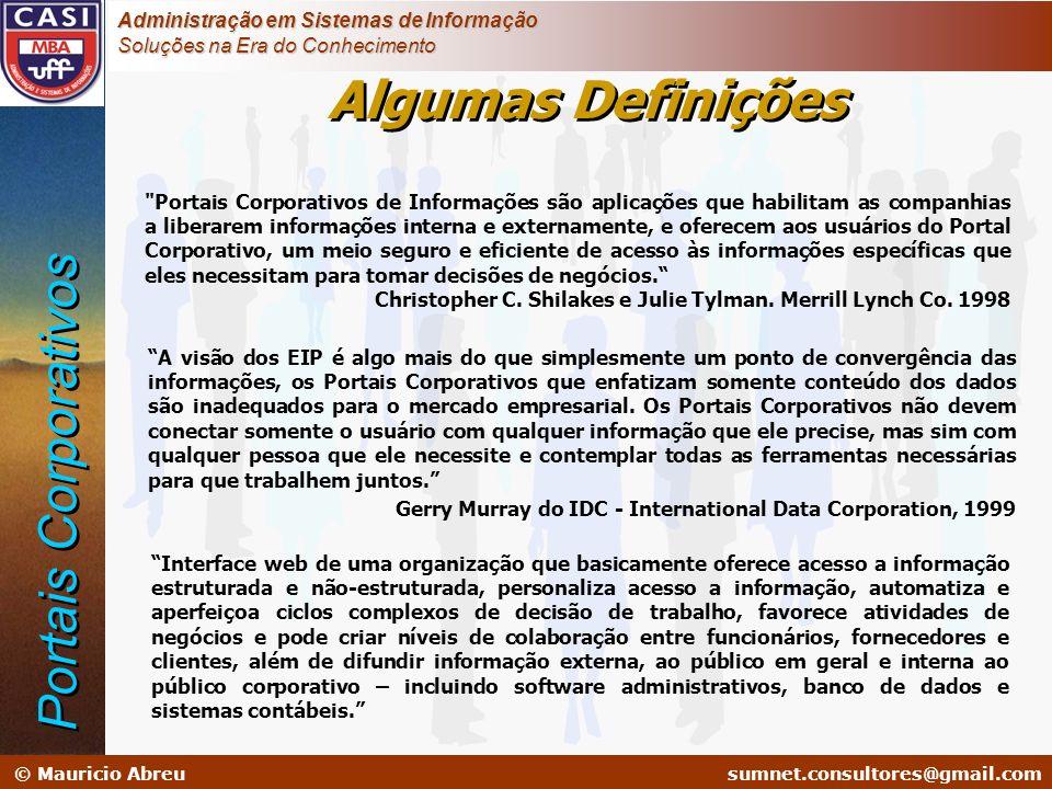 sumnet@microlink.com.br © Mauricio Abreusumnet.consultores@gmail.com Administração em Sistemas de Informação Soluções na Era do Conhecimento Sistemas legados ou operacionais (OLTP) Sistemas de Informação Gerencial (SIG) SIE Sistemas de Informação Empresarial B2C B2B B2E G2C G2G G2B G2E Portais Corporativos Alternativas de Implementação: –Portais internos: aumentar produtividade; –Portais externos: aumentar receita e visibilidade da organização.