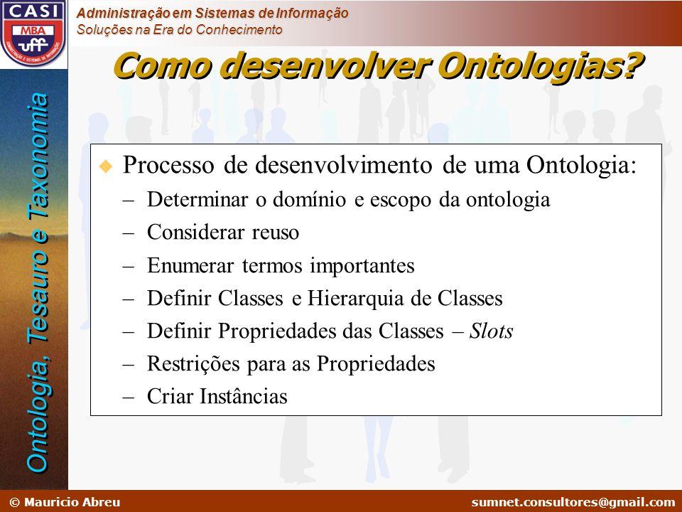 sumnet@microlink.com.br © Mauricio Abreusumnet.consultores@gmail.com Administração em Sistemas de Informação Soluções na Era do Conhecimento Como dese