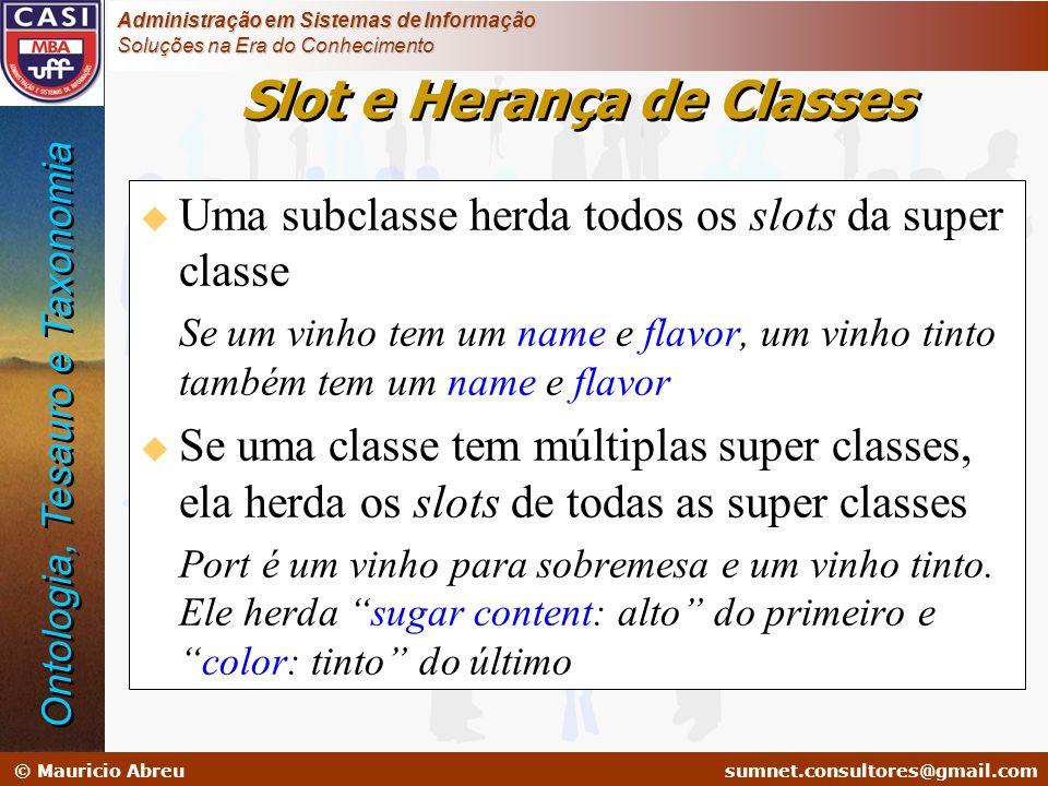 sumnet@microlink.com.br © Mauricio Abreusumnet.consultores@gmail.com Administração em Sistemas de Informação Soluções na Era do Conhecimento Slot e He