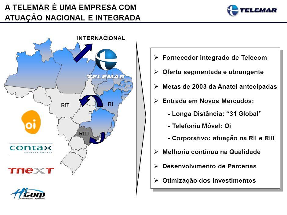 A TELEMAR É UMA EMPRESA COM ATUAÇÃO NACIONAL E INTEGRADA Fornecedor integrado de Telecom Oferta segmentada e abrangente Metas de 2003 da Anatel anteci