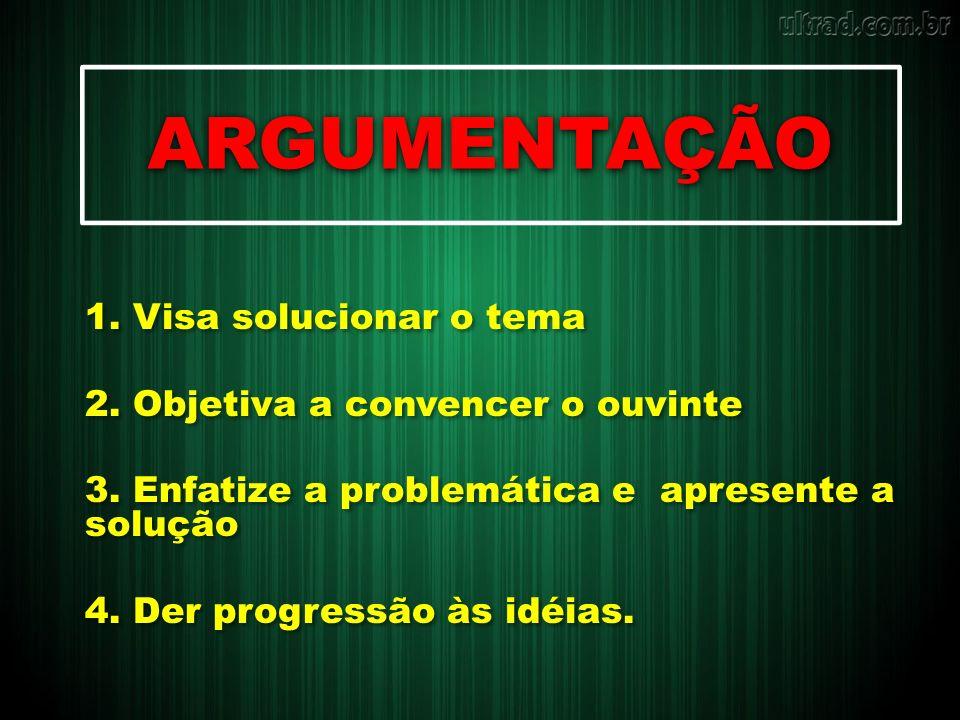 ARGUMENTAÇÃO 1. Visa solucionar o tema 2. Objetiva a convencer o ouvinte 3. Enfatize a problemática e apresente a solução 4. Der progressão às idéias.