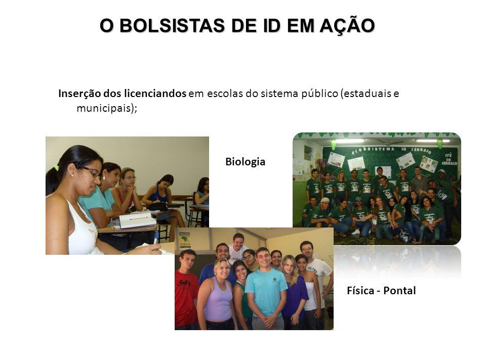Inserção dos licenciandos em escolas do sistema público (estaduais e municipais); Biologia Física - Pontal O BOLSISTAS DE ID EM AÇÃO