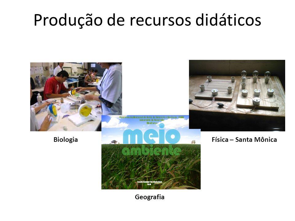 Produção de recursos didáticos BiologiaFísica – Santa Mônica Geografia