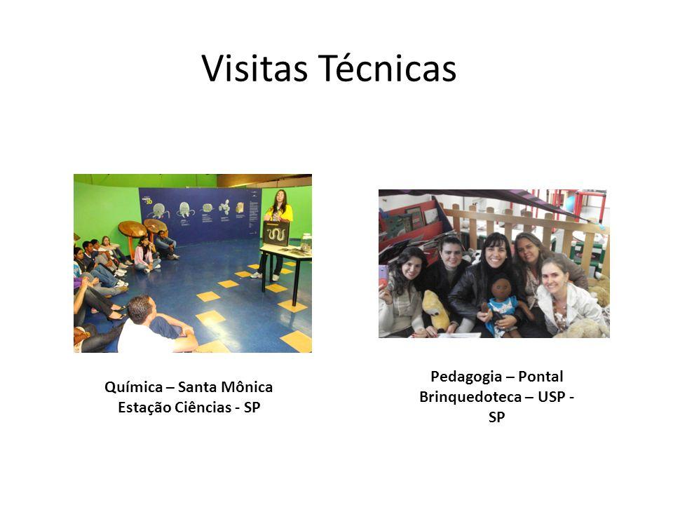 Visitas Técnicas Química – Santa Mônica Estação Ciências - SP Pedagogia – Pontal Brinquedoteca – USP - SP