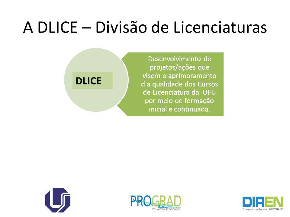 A DLICE – Divisão de Licenciaturas Desenvolvimento de projetos/ações que visem o aprimoramento d a qualidade dos Cursos de Licenciatura da UFU por mei