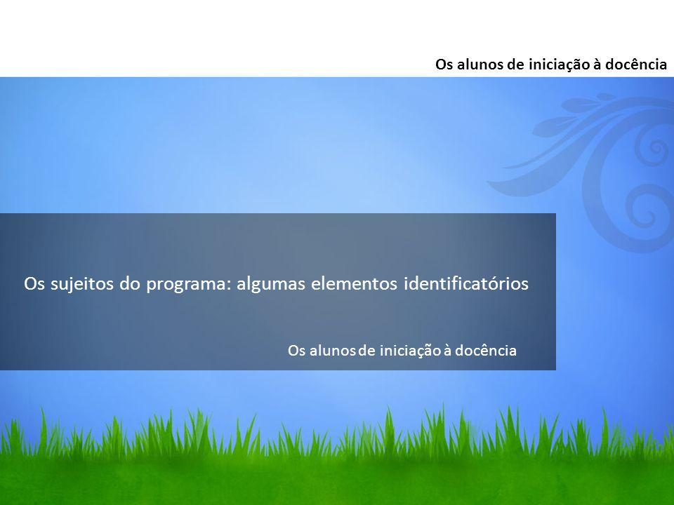 Os sujeitos do programa: algumas elementos identificatórios Os alunos de iniciação à docência