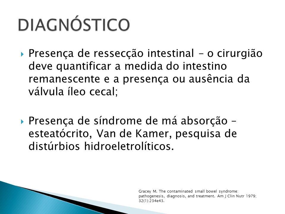 Presença de ressecção intestinal – o cirurgião deve quantificar a medida do intestino remanescente e a presença ou ausência da válvula íleo cecal; Pre