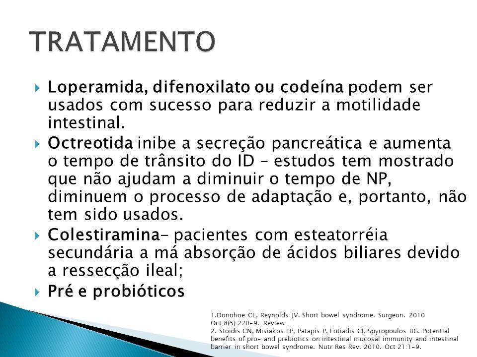 Loperamida, difenoxilato ou codeína podem ser usados com sucesso para reduzir a motilidade intestinal. Octreotida inibe a secreção pancreática e aumen