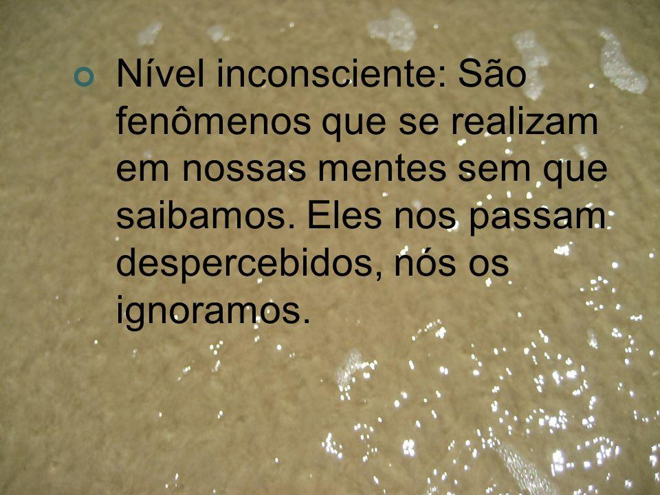Nível inconsciente: São fenômenos que se realizam em nossas mentes sem que saibamos. Eles nos passam despercebidos, nós os ignoramos.