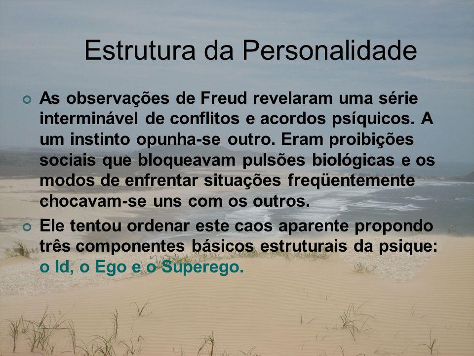 Estrutura da Personalidade As observações de Freud revelaram uma série interminável de conflitos e acordos psíquicos. A um instinto opunha-se outro. E