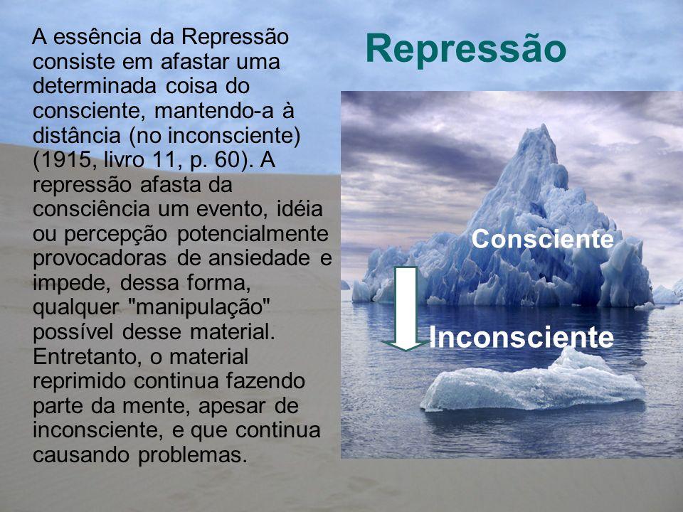 Repressão A essência da Repressão consiste em afastar uma determinada coisa do consciente, mantendo-a à distância (no inconsciente) (1915, livro 11, p