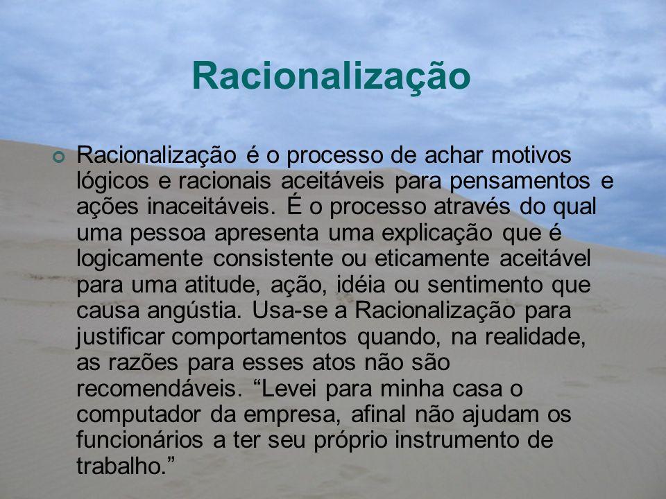 Racionalização Racionalização é o processo de achar motivos lógicos e racionais aceitáveis para pensamentos e ações inaceitáveis. É o processo através