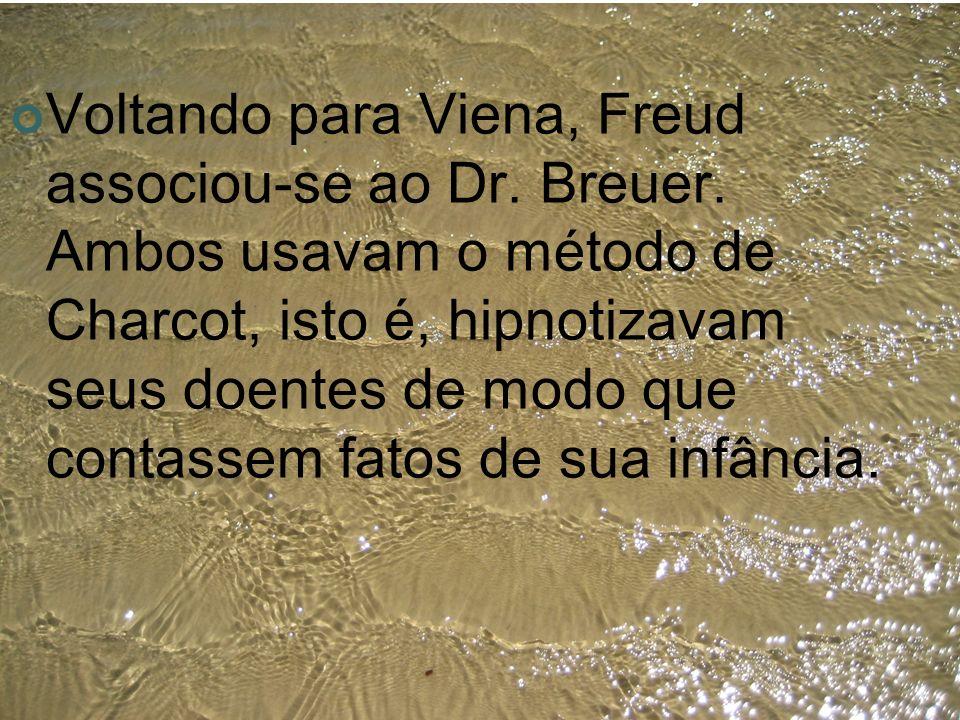 Voltando para Viena, Freud associou-se ao Dr. Breuer. Ambos usavam o método de Charcot, isto é, hipnotizavam seus doentes de modo que contassem fatos