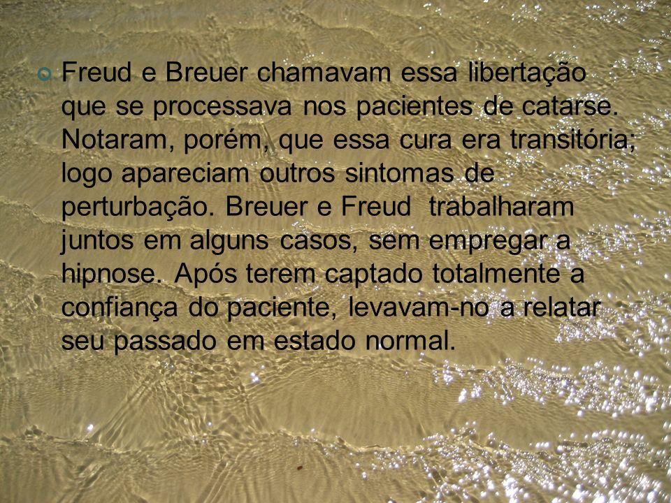 Freud e Breuer chamavam essa libertação que se processava nos pacientes de catarse. Notaram, porém, que essa cura era transitória; logo apareciam outr