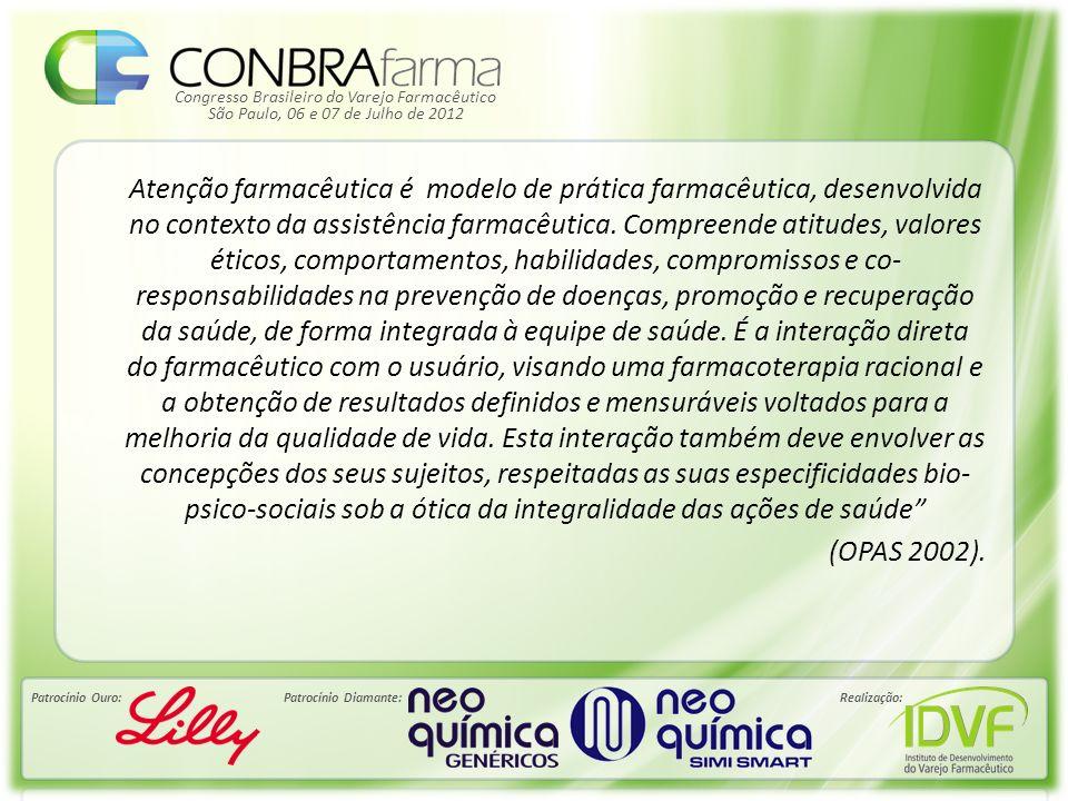 Congresso Brasileiro do Varejo Farmacêutico Patrocínio Ouro:Patrocínio Diamante:Realização: São Paulo, 06 e 07 de Julho de 2012 Atenção farmacêutica é