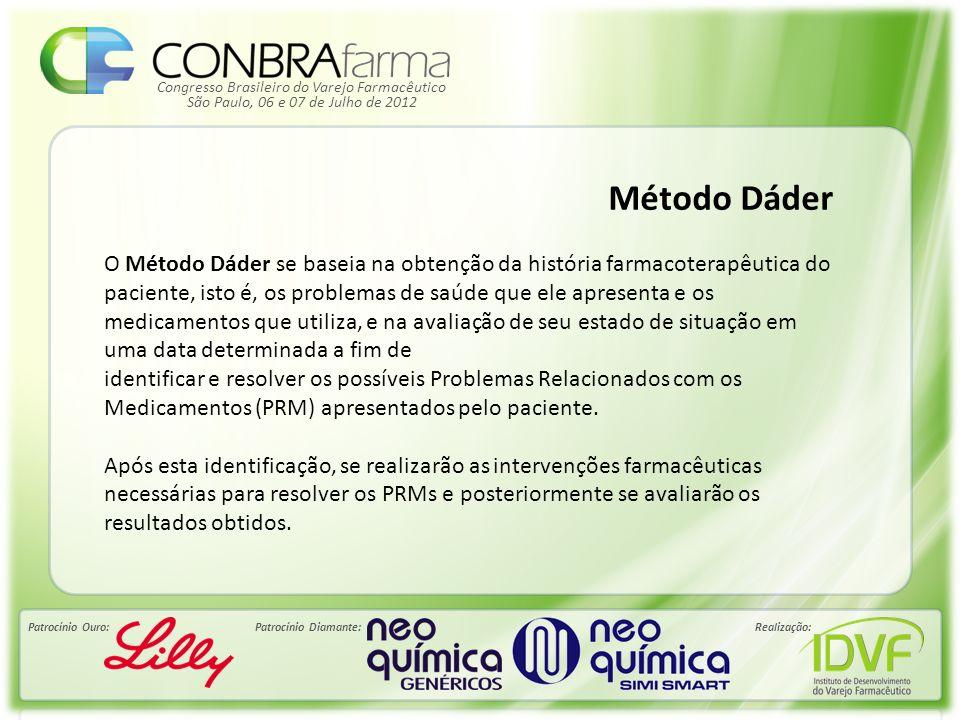 Congresso Brasileiro do Varejo Farmacêutico Patrocínio Ouro:Patrocínio Diamante:Realização: São Paulo, 06 e 07 de Julho de 2012 Método Dáder O Método