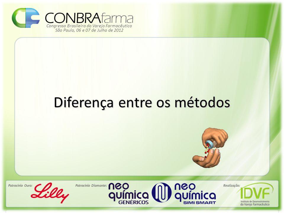 Congresso Brasileiro do Varejo Farmacêutico Patrocínio Ouro:Patrocínio Diamante:Realização: São Paulo, 06 e 07 de Julho de 2012 Diferença entre os mét