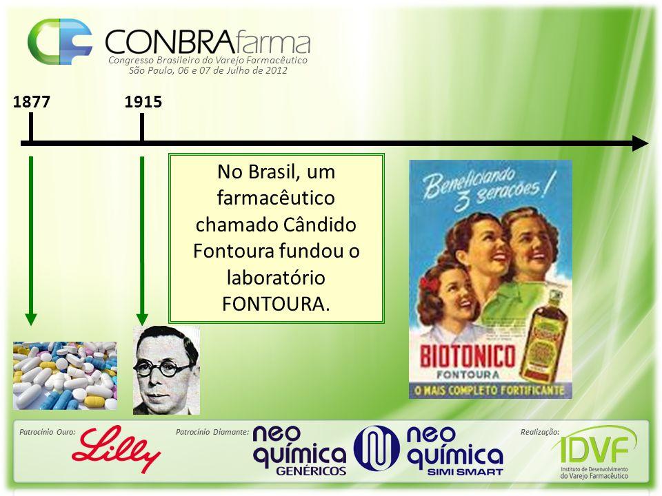Congresso Brasileiro do Varejo Farmacêutico Patrocínio Ouro:Patrocínio Diamante:Realização: São Paulo, 06 e 07 de Julho de 2012 Décadas de 40 e 60 Surge a indústria farmacêutica propriamente dita.