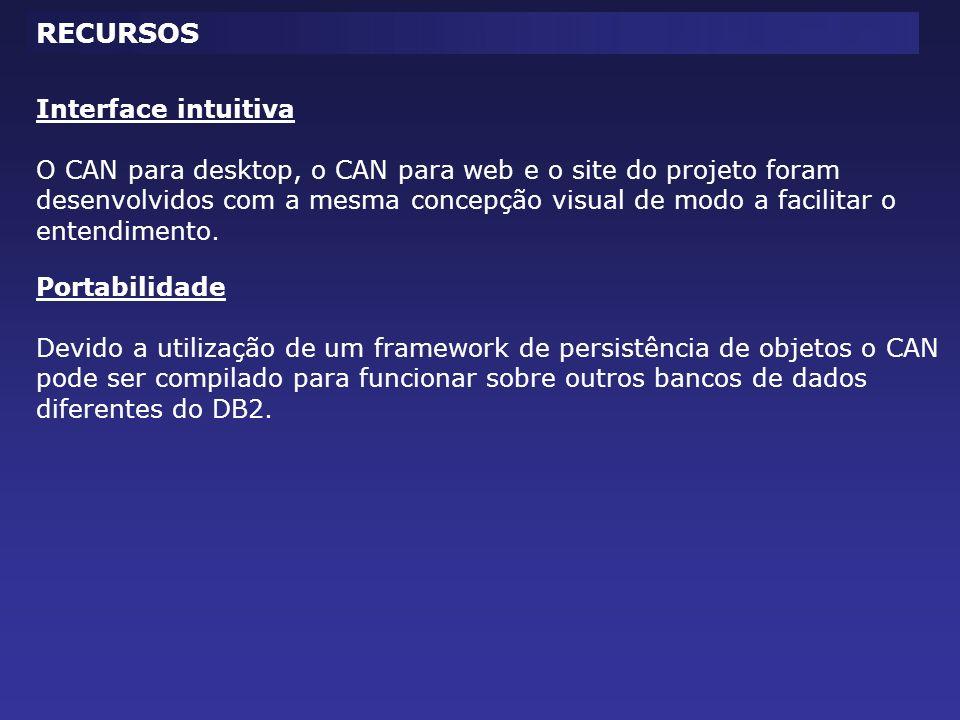 Interface intuitiva O CAN para desktop, o CAN para web e o site do projeto foram desenvolvidos com a mesma concepção visual de modo a facilitar o ente