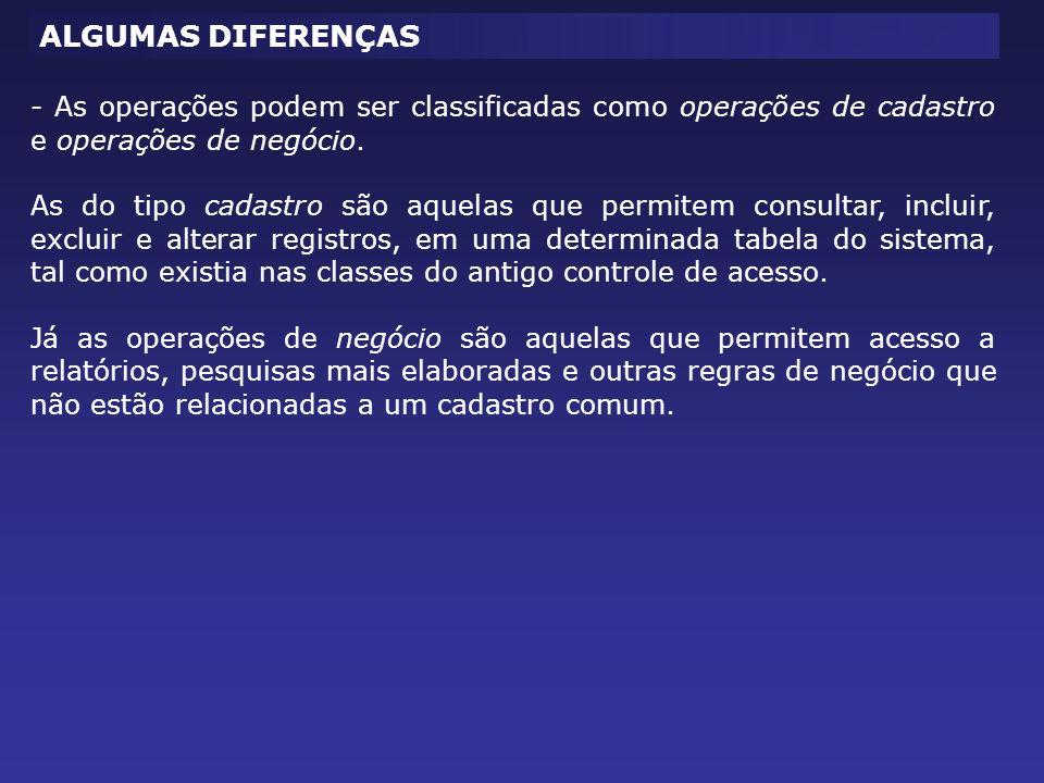 ALGUMAS DIFERENÇAS - As operações podem ser classificadas como operações de cadastro e operações de negócio. As do tipo cadastro são aquelas que permi