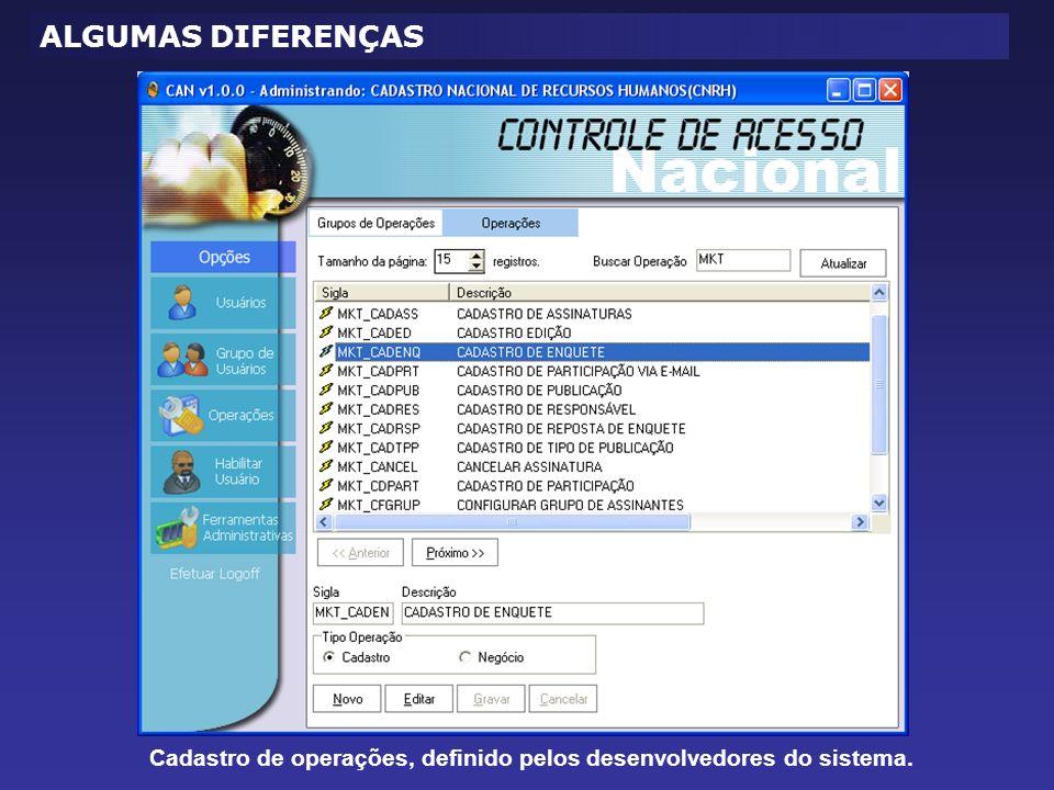 ALGUMAS DIFERENÇAS Cadastro de operações, definido pelos desenvolvedores do sistema.