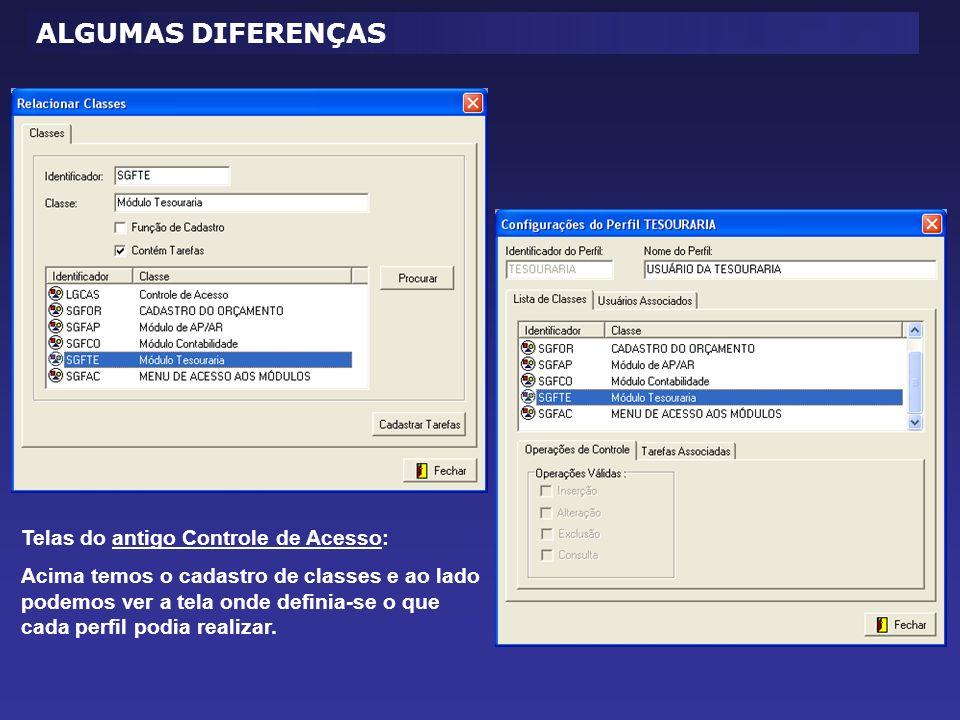 Telas do antigo Controle de Acesso: Acima temos o cadastro de classes e ao lado podemos ver a tela onde definia-se o que cada perfil podia realizar.