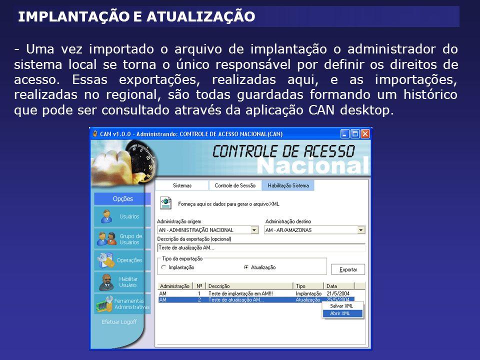 - Uma vez importado o arquivo de implantação o administrador do sistema local se torna o único responsável por definir os direitos de acesso.