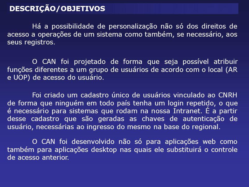 O CAN foi projetado de forma que seja possível atribuir funções diferentes a um grupo de usuários de acordo com o local (AR e UOP) de acesso do usuári