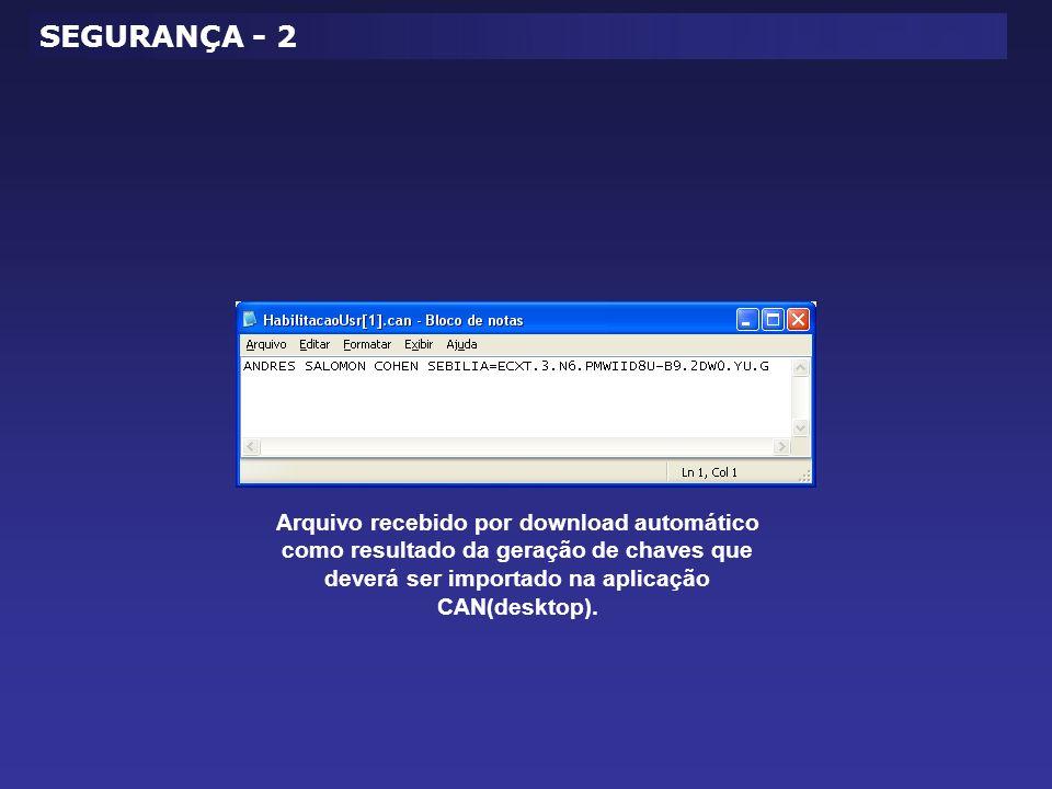 Arquivo recebido por download automático como resultado da geração de chaves que deverá ser importado na aplicação CAN(desktop).