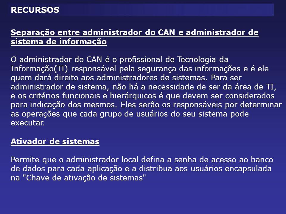 Separação entre administrador do CAN e administrador de sistema de informação O administrador do CAN é o profissional de Tecnologia da Informação(TI)