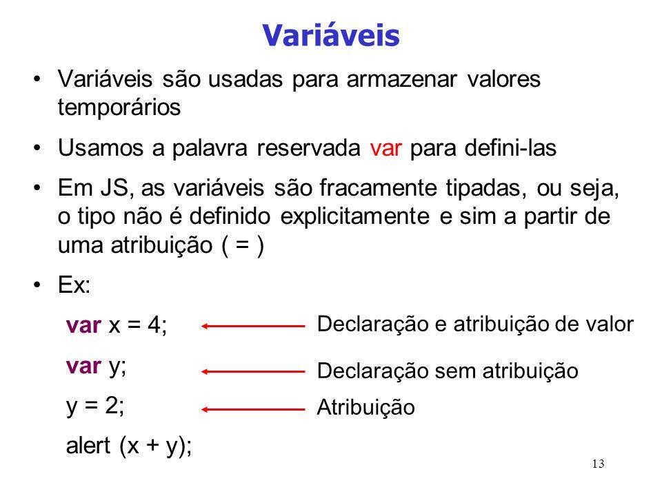 13 Variáveis Variáveis são usadas para armazenar valores temporários Usamos a palavra reservada var para defini-las Em JS, as variáveis são fracamente