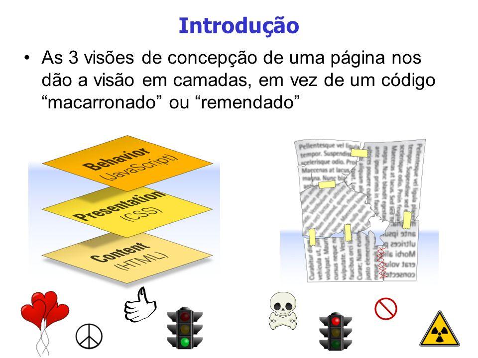 3 Introdução As 3 visões de concepção de uma página nos dão a visão em camadas, em vez de um código macarronado ou remendado