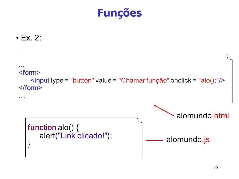 38 Funções... … function alo() { alert(