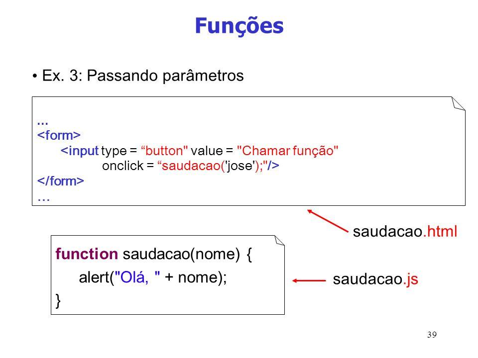 39 Funções... … function saudacao(nome) { alert(