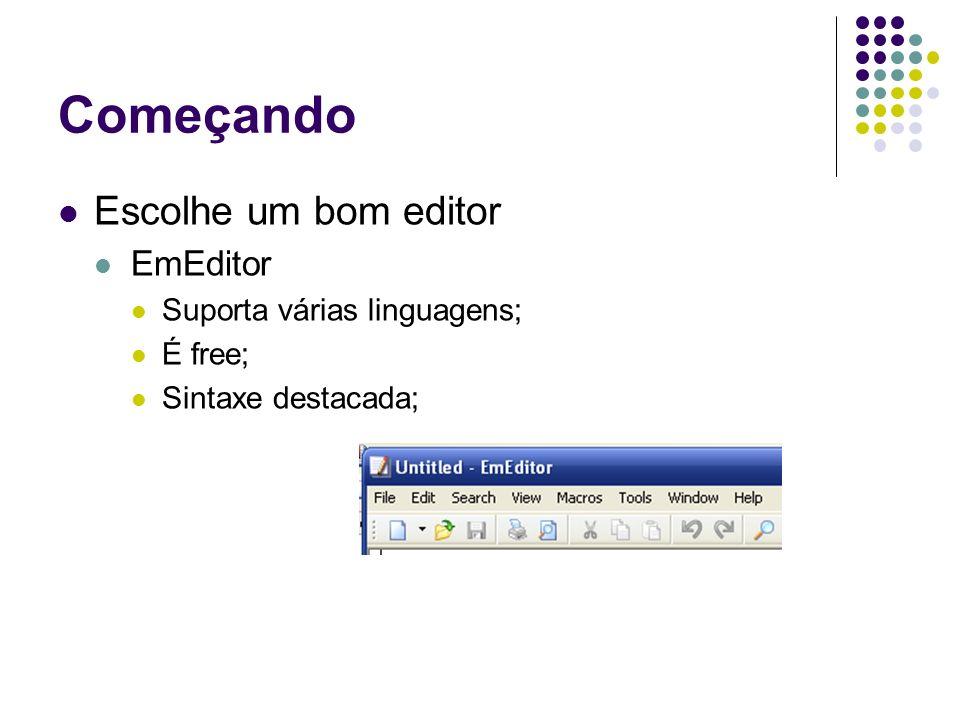 Começando Escolhe um bom editor EmEditor Suporta várias linguagens; É free; Sintaxe destacada;
