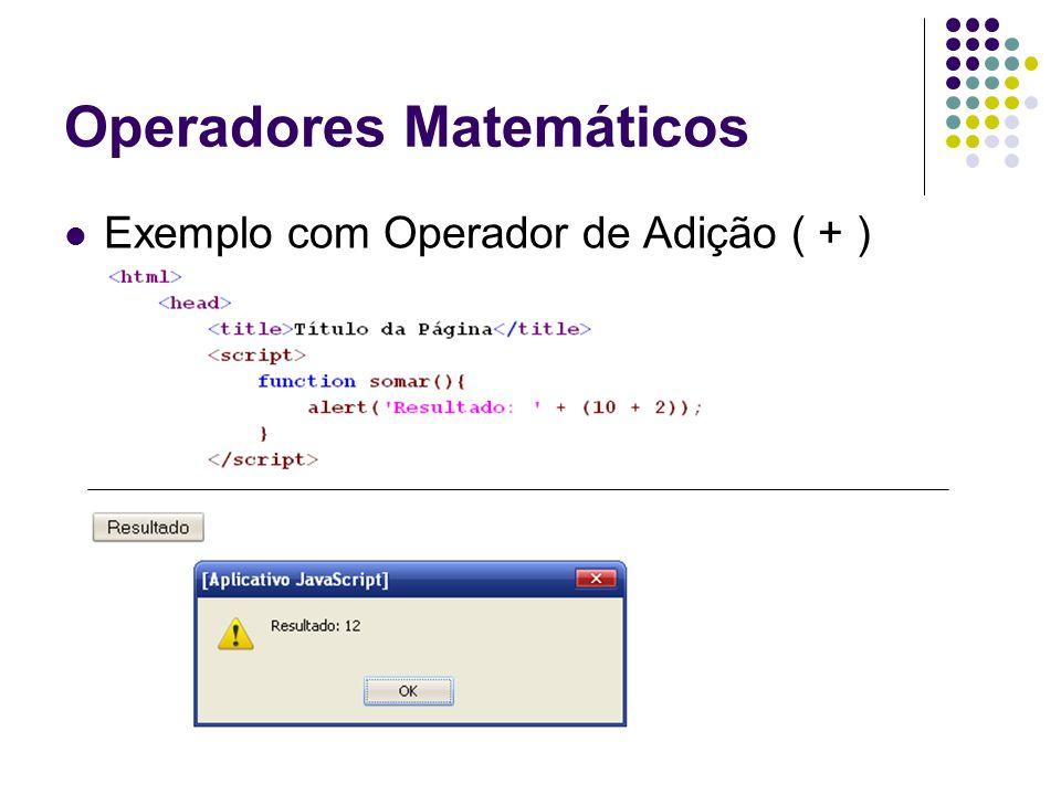 Operadores Matemáticos Exemplo com Operador de Adição ( + )