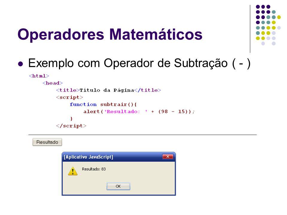 Operadores Matemáticos Exemplo com Operador de Subtração ( - )