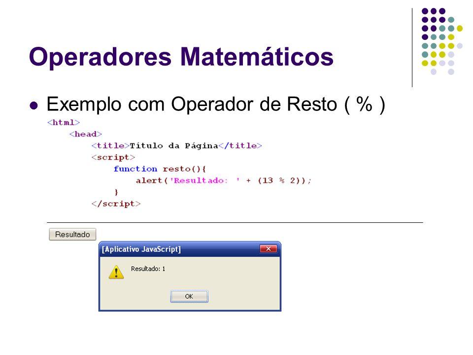 Operadores Matemáticos Exemplo com Operador de Resto ( % )