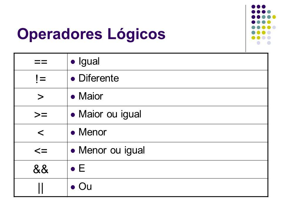 Operadores Lógicos == Igual != Diferente > Maior >= Maior ou igual < Menor <= Menor ou igual && E || Ou